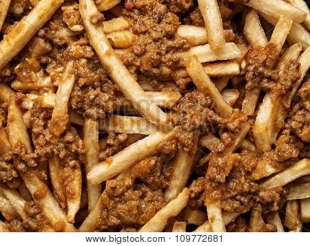 Rustic American Chili Fries Food Background