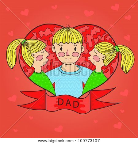 Father Kiss Daughter Twins. Heart. Love. Family. Vector