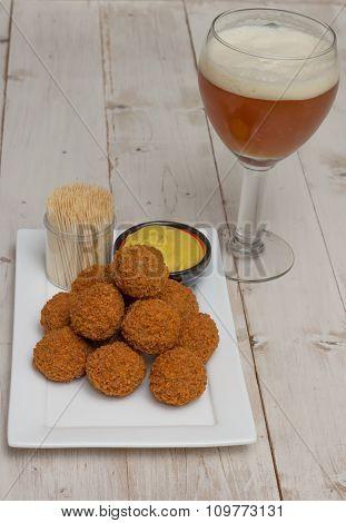 Dutch Snack Bitterballen With Beer