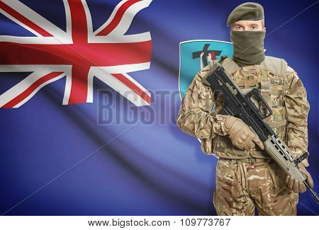 Soldier Holding Machine Gun With Flag On Background Series - Montserrat