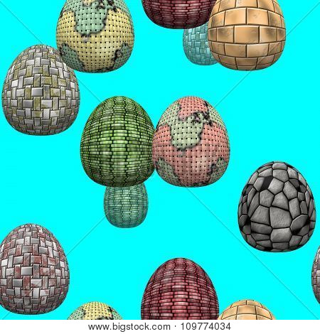 Celebrating Easter. Seamless texture with Easter eggs. Eggs with different surface.