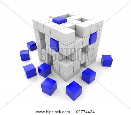 3D Blue And White Cubes