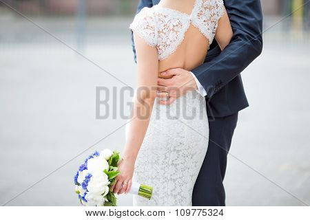 Sensual young happy couple celebraiting wedding day