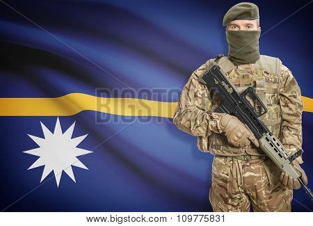 Soldier Holding Machine Gun With Flag On Background Series - Nauru