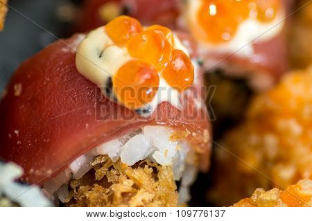 Sushi With Salmon And Red Caviar