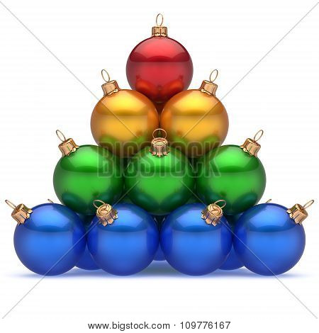 Pyramid Christmas Balls Colorful Top Red Leader First Place Win