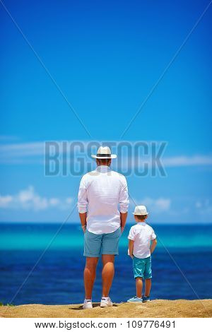 Father And Son On Summer Vacation Near The Seaside