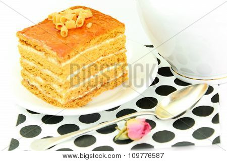 Delicious Honey Cake Decorated with Chocolate.