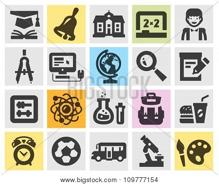 education, school set black icons. signs and symbols