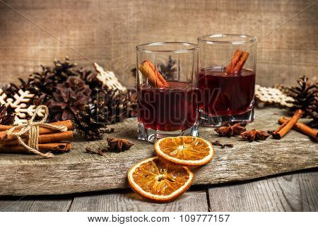 Christmas Mulled Wine On A Rustic Wooden Table