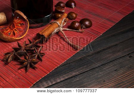 Hot wine for winter with various spices