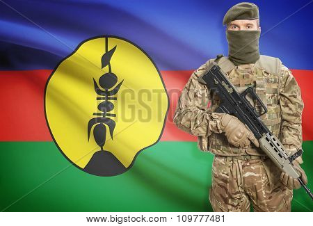 Soldier Holding Machine Gun With Flag On Background Series - New Caledonia