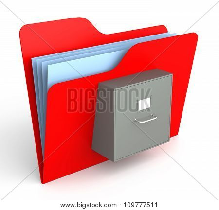 Red Folder With File Cabinet. Isolated White Background. 3D Rendering