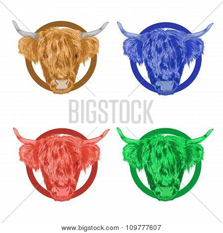 Colorful Vector Icons With The Head Of A Bull.