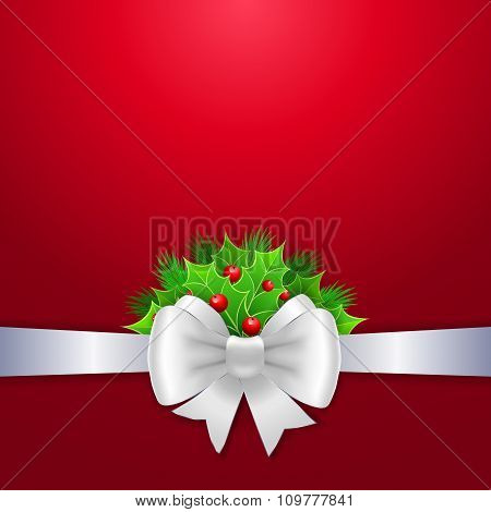 White Ribbon And Bow On Red Background