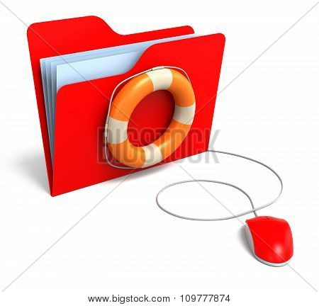 Data Folders In Life Buoy. Rescuing Your Files Concept