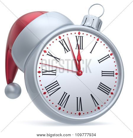 New Year's Eve Time Christmas Ball Alarm Clock Santa Hat White