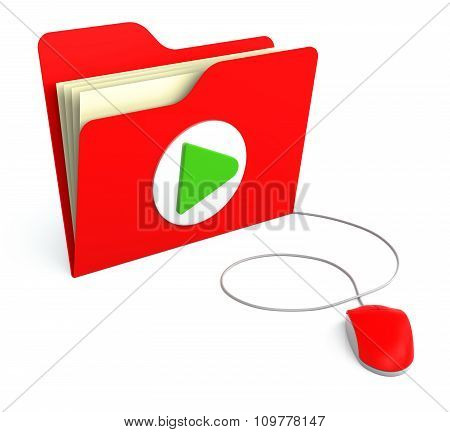 Red Folder With Play Button With Computer Mouse