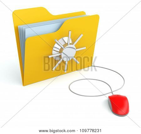 Folder With Security Protection With Computer Mouse