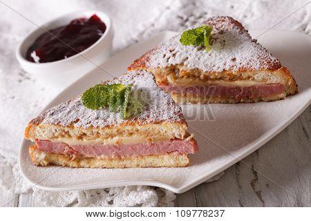 Delicious Monte Cristo Sandwich Close-up. Horizontal