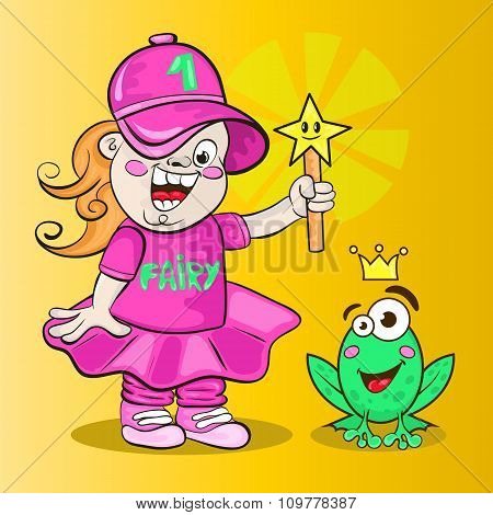 Modern Fairy With A Magic Wand And The Frog With The Crown.