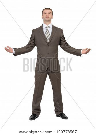 Businessman holding empty space, front view