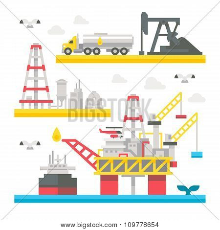 Flat Design Oil Rig Set