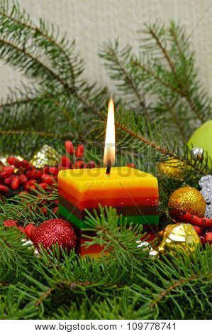 Christmas Composition With A Lighted Candle