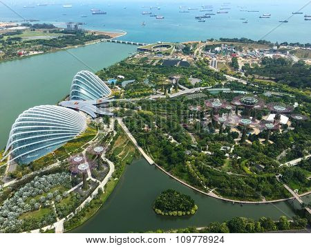 Singapore - Nov 13: Aerial View of the two domes of Gardens by the Bay park, Singapore with Marina Bay Sands tower. November 13, 2015