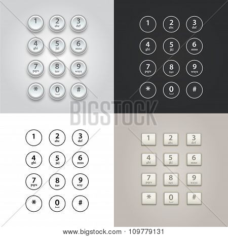 User interface keypad for phone vector set