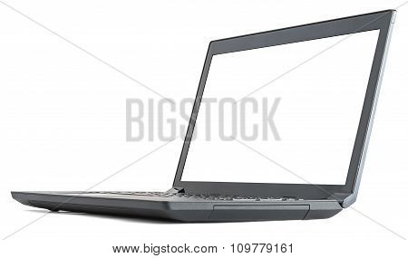 Open laptop with blank screen