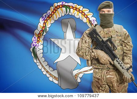 Soldier Holding Machine Gun With Flag On Background Series - Northern Mariana Islands