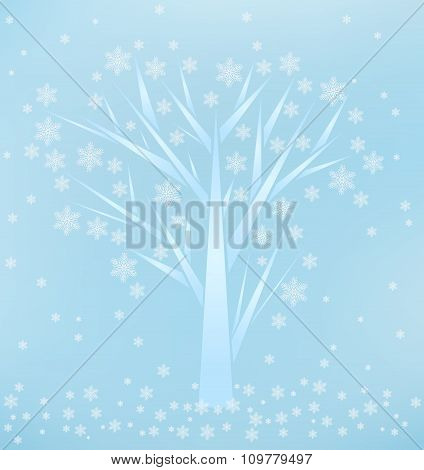 Winter Background With Tree And Snowflakes.