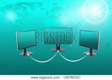 Set of monitors with spotlight