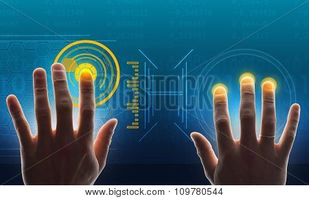 Hands touching holographic screen with numbers
