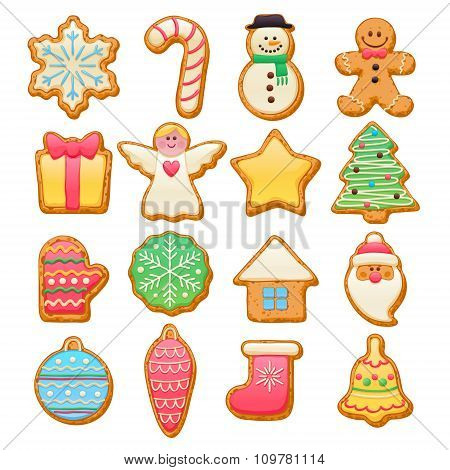 Colorful beautiful Christmas cookies icons set.