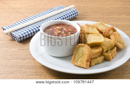 Fried Tofu Bubble Served With Sweet Spicy Sauce