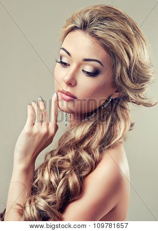 Beautiful girl with long hairstyle curly hair