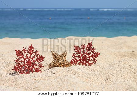 red snowflakes and gold star