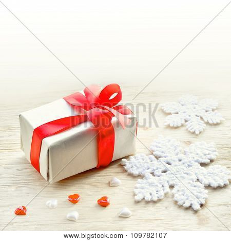 Christmas Background. Snowflake, Gift And Heart.
