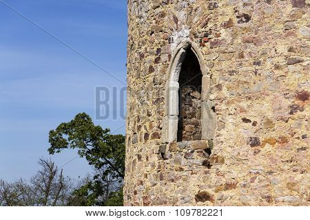 Bosky Ruins Of Abandoned Valdek In Czech Republic Sunny Summer Day Clear Blue Sky