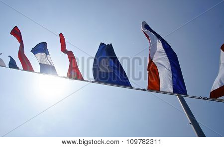 The row of nautical flags closeup