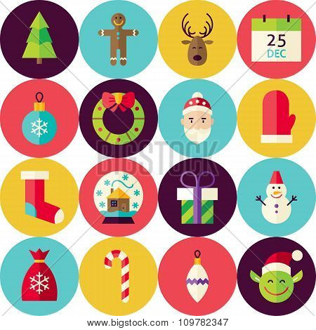 Vector White Flat Merry Christmas Seamless Pattern Set With Circles