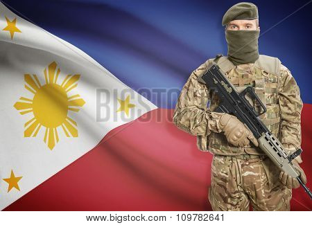 Soldier Holding Machine Gun With Flag On Background Series - Philippines