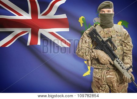 Soldier Holding Machine Gun With Flag On Background Series - Pitcairn Islands