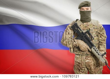 Soldier Holding Machine Gun With Flag On Background Series - Russia