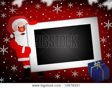 Santa And  Blank Photo Frame Background