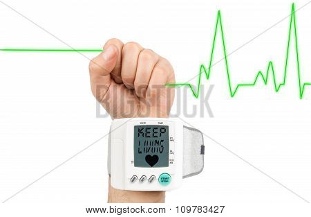 Keep living on blood pressure monitor