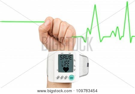 Save life on blood pressure monitor