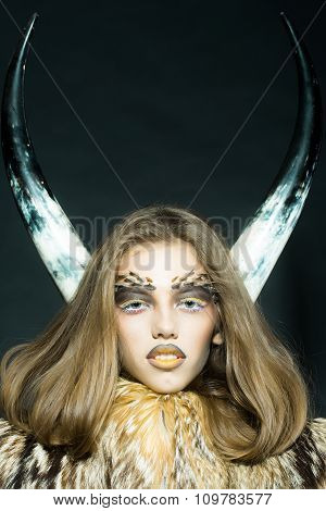 Girl With Antlers And Fur Coat